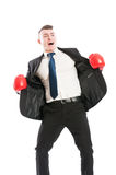 Business man with boxing gloves shouting Royalty Free Stock Photos