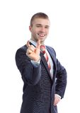 Business man bragging about the size of something Royalty Free Stock Photos