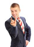 Business man bragging about the size of something Royalty Free Stock Images