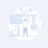 Business Man Brainstorming Finance Chart Graph Thin Line. Vector Illustration Royalty Free Stock Images