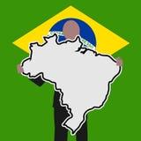 Business man Brazil map sign Royalty Free Stock Photos