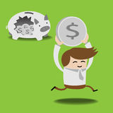 Business man breaking piggy bank with coins Stock Image