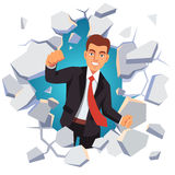 Business man breaking through white concrete wall Stock Images