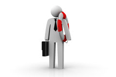 Business man with briefcase and lifebelt. 3d illustration of business man with briefcase and lifebelt Royalty Free Stock Image