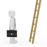 Business man briefcase look up ladder. 3d business man briefcase look up ladder Stock Photo