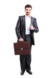 Business man with briefcase standing royalty free stock images