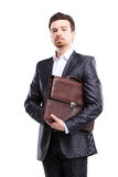 Business man with briefcase standing stock photography