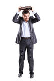 Business man with briefcase standing Stock Image