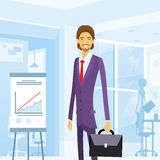 Business man with briefcase suit at office Stock Photography