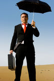 A business man with a briefcase and a umbrella Royalty Free Stock Images