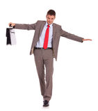 Business man with briefcase walk on wire Stock Photography