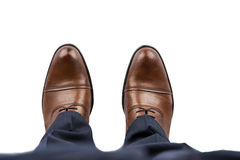 Business Man Brown Shoes Top View Stock Photography