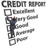 Business man build credit score rating up. Business man debt consumer works to build up credit score rating report