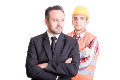 Business man and builder Royalty Free Stock Photo