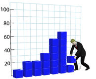 Business man builds growth chart graph Stock Photography