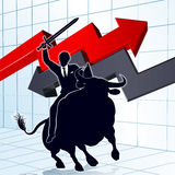 Business Man on Bull Profit Concept Stock Images