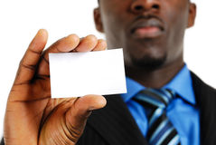Business man with business card Stock Photos