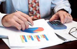 Business man with business chart Royalty Free Stock Photo
