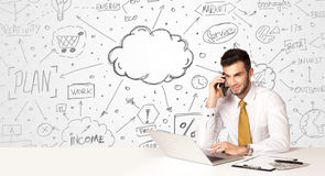 Business man with business concept background Stock Photo