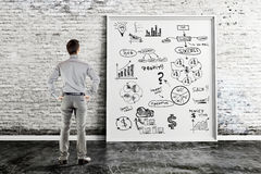 Business man and business concept idea on white frame Stock Images
