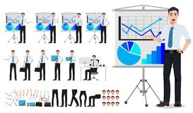 Business man for business presentation vector character creation set royalty free illustration