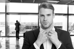 Business man. business success of confident man. businessman in airport terminal. agile business with succsessful man. Business trip of elegant man, black and Royalty Free Stock Images
