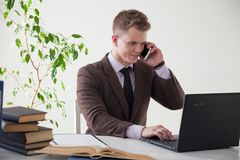 Business man in a business suit portrait work in Office talks royalty free stock photos