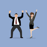 Business man and business woman celebrating success Royalty Free Stock Images