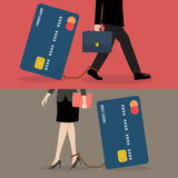 Business man and business woman with credit card burden Royalty Free Stock Images