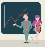 Business man and business woman. Flat graphic style of business man and woman presenting their work Royalty Free Stock Photography