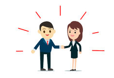 Business man and business woman shaking hands Stock Image