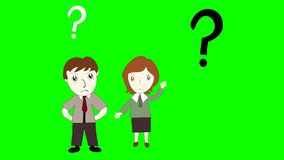 Business man and business woman thinking on green background screen stock footage