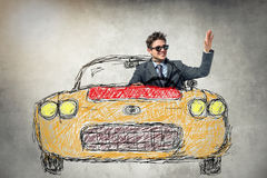 Business man. Businessman greetings from the car. Abstract painted background Royalty Free Stock Images