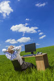 Business Man Businessman Working Desk Green Field Royalty Free Stock Photography