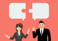 Business man and businesss woman in conversation Stock Images