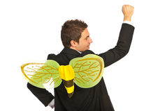 Business man busy as a bee. Successful business man busy as a bee isolated on white background Stock Photo