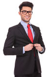 Business man buttoning suit Royalty Free Stock Photo