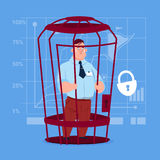 Business Man In Cage Prisoner Financial Problem Concept. Flat Vector Illustration Royalty Free Stock Photos