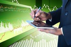 Business man calculating the digital tablet. Digital illustration of Business man calculating the digital tablet in color background Stock Images
