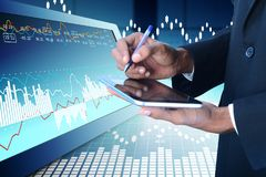 Business man calculating the digital tablet. Digital illustration of Business man calculating the digital tablet in color background Stock Image