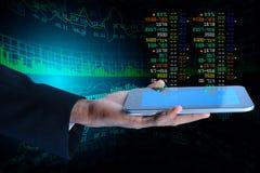 Business man calculating the digital tablet. Digital illustration of Business man calculating the digital tablet Stock Photo