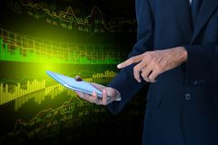 Business man calculating the digital tablet. Digital illustration of Business man calculating the digital tablet Royalty Free Stock Photo