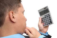 Business man with calculator Stock Photography