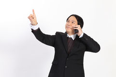 business man call mobilephone and writing whatever you Royalty Free Stock Photos