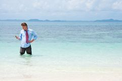 Business man calling by cell phone on the beach Stock Image