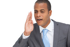 Business man calling for someone gesture Stock Photos