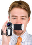 Business man with a camera Royalty Free Stock Photography