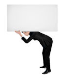Business man carry empty board Stock Photo