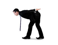Business man carry something. Isolated business man carry something Royalty Free Stock Image