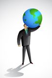 Business Man carryinging Earth Stock Image